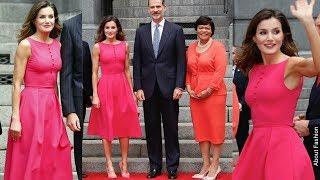 La Reina Letizia espectacular con nuevo vestido rosa fucsia en el Viaje a Estados Unidos en Luisiana