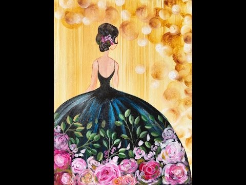 74c7ec0ede40 Girl in a Party Dress Acrylic Painting on Canvas for Beginners - YouTube