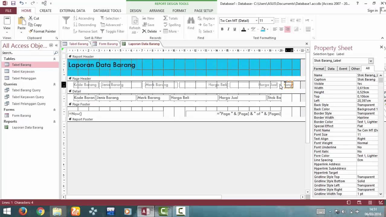 Tutorial : Membuat Form & Report Database pada Ms. Access 2013 ...
