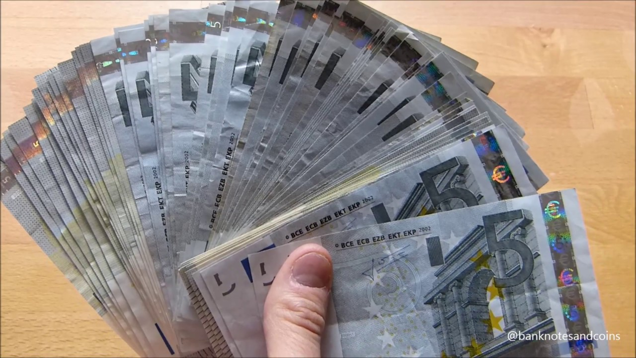 counting stack of 5 euro bills youtube. Black Bedroom Furniture Sets. Home Design Ideas