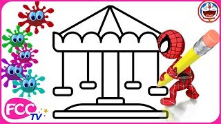Draw with Spiderman & Learn How to Draw Carousel Coloring Pages for Baby Learning Colors & Drawing