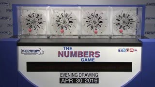 Evening Numbers Game Drawing: Saturday, April 30, 2016