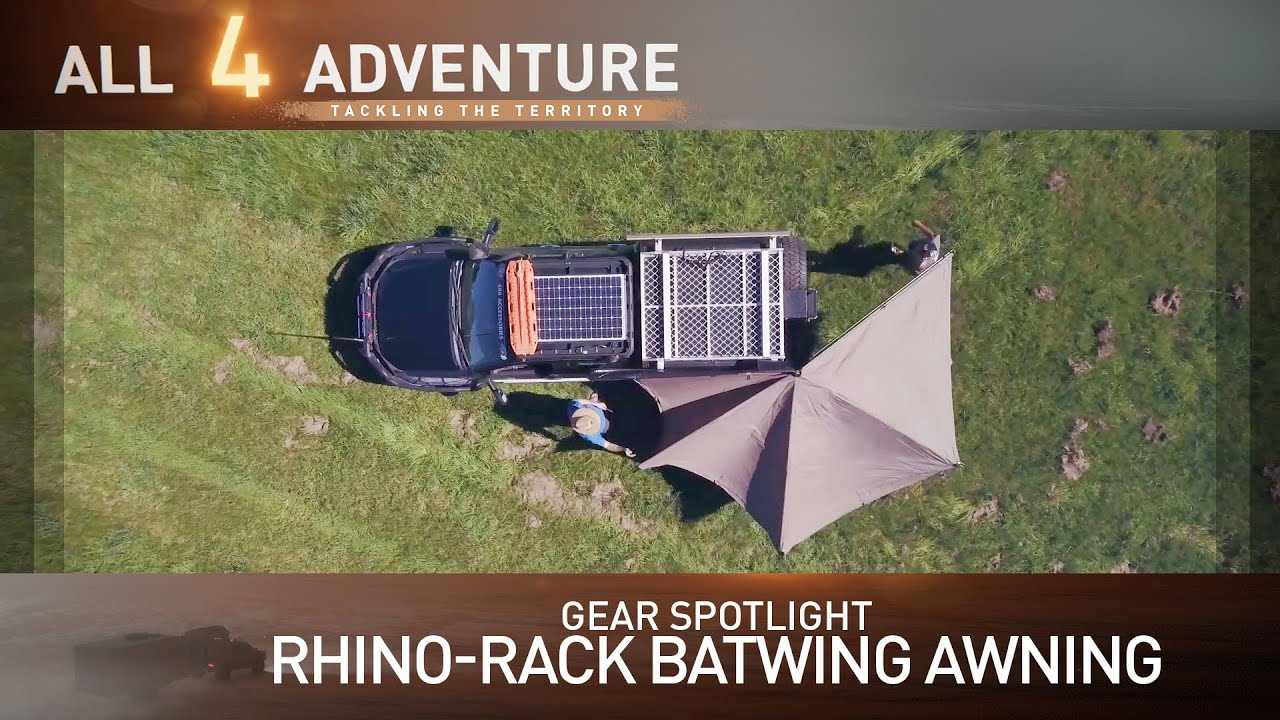 gear spotlight rhino rack batwing awning all 4 adventure tv