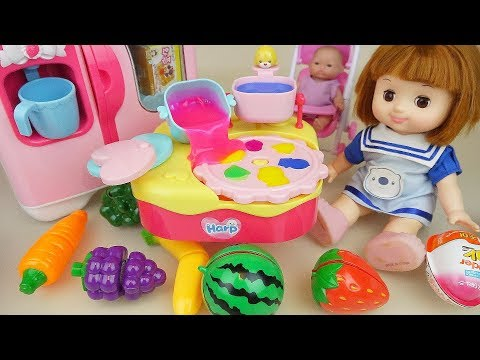 Baby doll and fruit jelly cooking toys baby Doli kitchen play