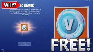 Here's Why PLAYERS Are Getting 1,000 FREE V-Bucks In Fortnite..