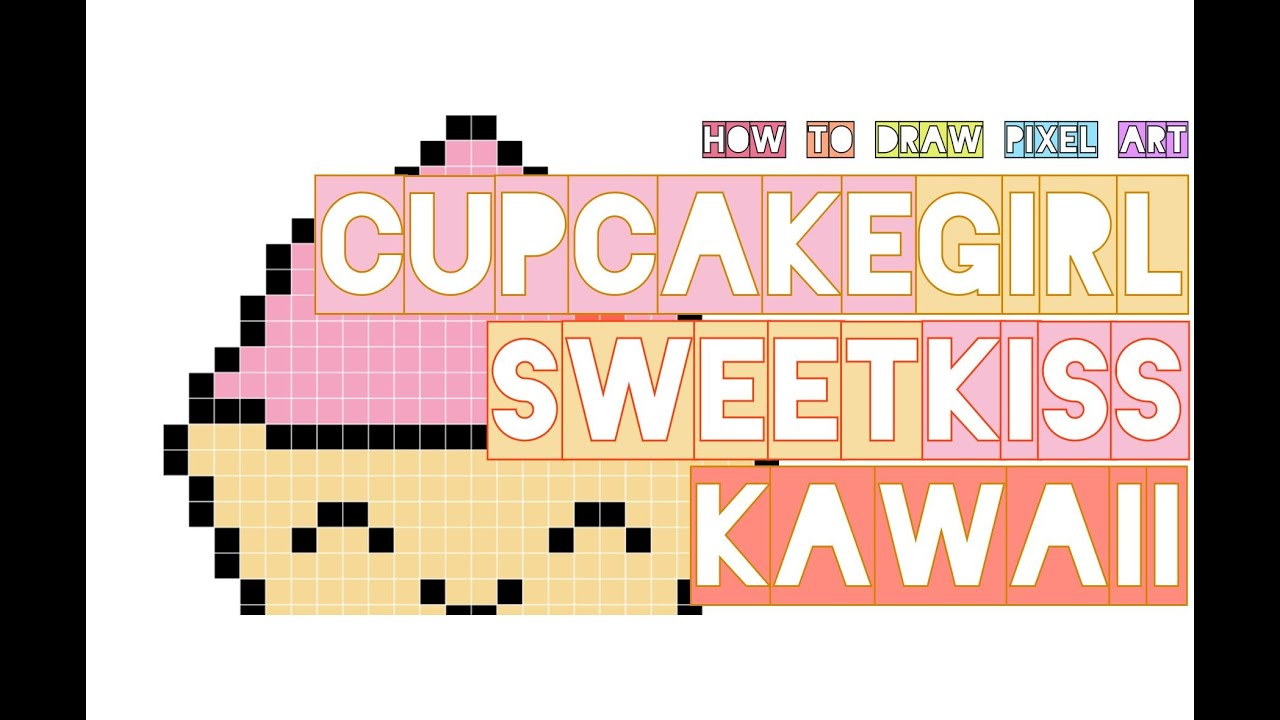 How To Draw Cute Kawaii Cupcake Girl With Bow Giving A Sweet Doodle Pixel Art Perler Beads