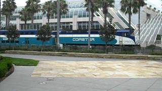 San Diego Coaster rail service passing Convention Center