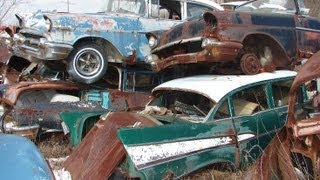 Huge Classic Car Junkyard - Wrecked Vintage Muscle Cars
