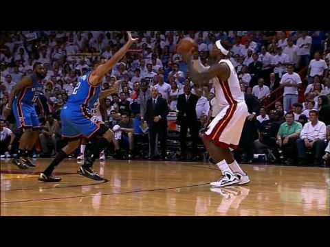 Leg Cramps LeBron James Hits Clutch 3 (2012 NBA Finals Game 4) [HD]