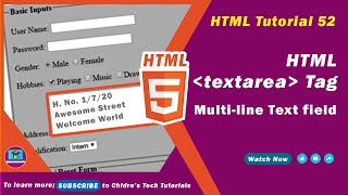 HTML video tutorial - 52 - html textarea tag