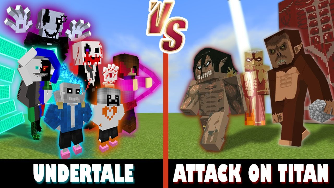 Undertale Gang vs. Attack on Titan | Minecraft (HUGE vs SMOL)