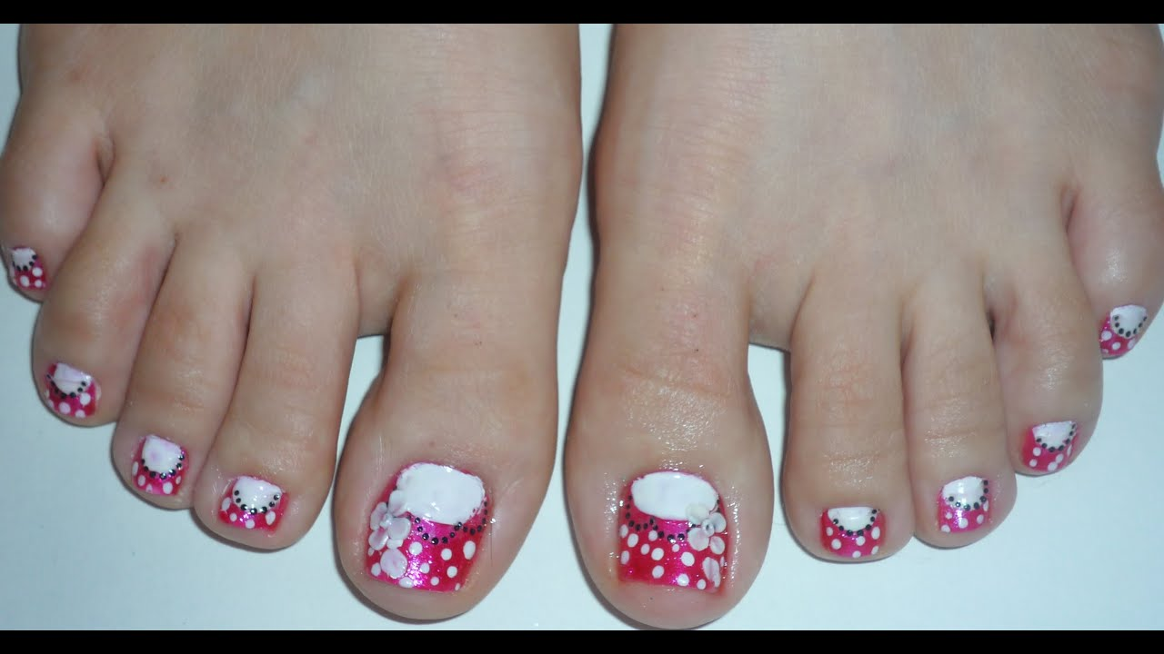 Pollka Dots 3d Floral Toe Nail Design Youtube
