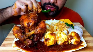 SPICY WHOLE CHICKEN CURRY,EGG WITH BASMATI RICE *FOOD EATING SHOW|#HungryPiran