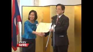 Lao NEWS on LNTV: Japanese FM's Certificate of Commendation awards to Japan alumni.14/1/2015