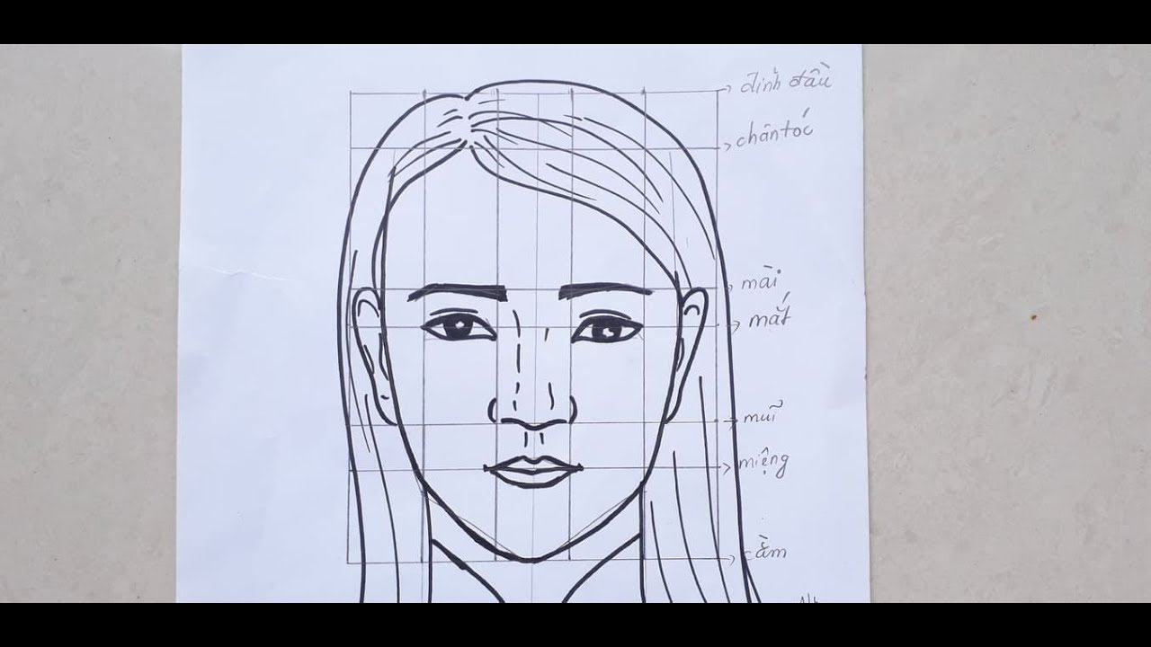 Cách vẽ chân dung nữ, vẽ mẹ, vẽ cô giáo, tỷ lệ khuông mặt nữ | Khái quát các tài liệu liên quan đến vẽ chân dung lớp 8 don gian mới cập nhật