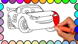 How to Draw Lightning McQueen Cars - Cars 2 Cartoon Coloring Pages For Kids - Coloring Book for Baby