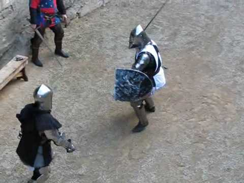 Medieval Knights Sword Fighting in Conwy Castle, Wales, UK ...