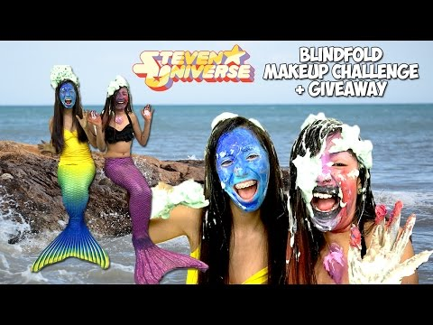 Mermaid Blindfold Makeup Challenge Steven Universe GIVEAWAY with Amethyst Michaela Dietz