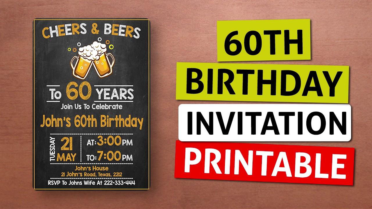 60th Birthday Invitation Printable For Dad