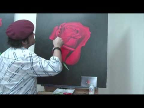 art lesson how to paint a rose with a twist using acrylic