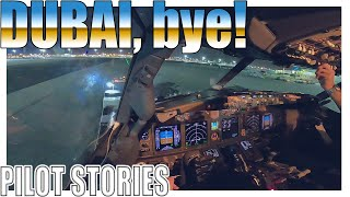 Pilot stories: Boeing 737 night departure from Dubai International  from the flightdeck