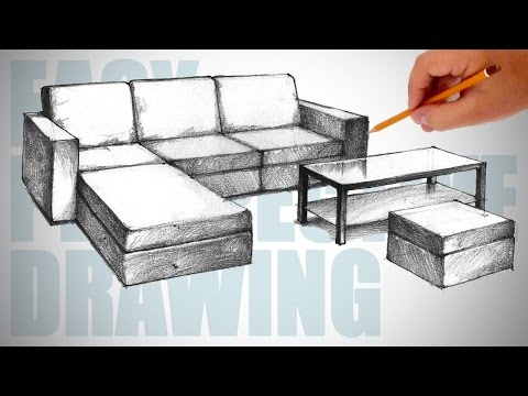 How To Draw Furniture Sofa Easy Perspective Drawing 23