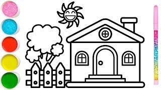 Vẽ ngôi nhà vườn cây đơn giản và tô màu cho bé | Dạy bé vẽ | Dạy bé tô màu