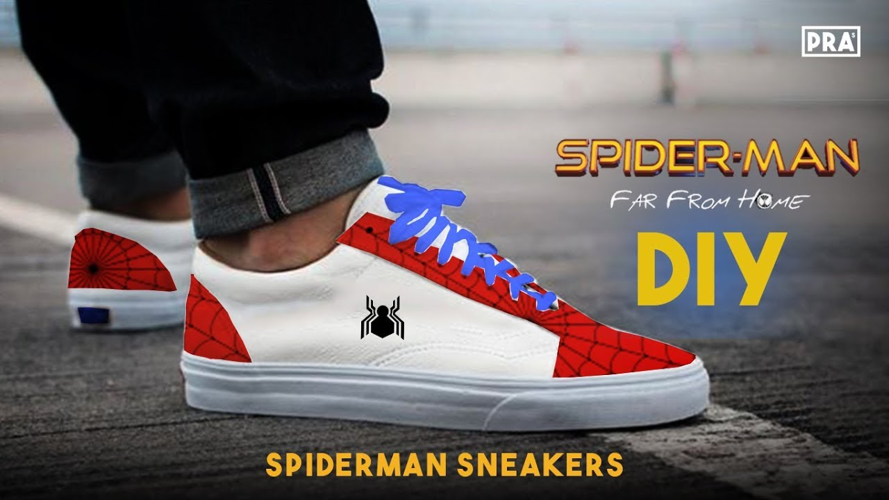 db1d900349a DIY Spiderman Far From Home Sneakers