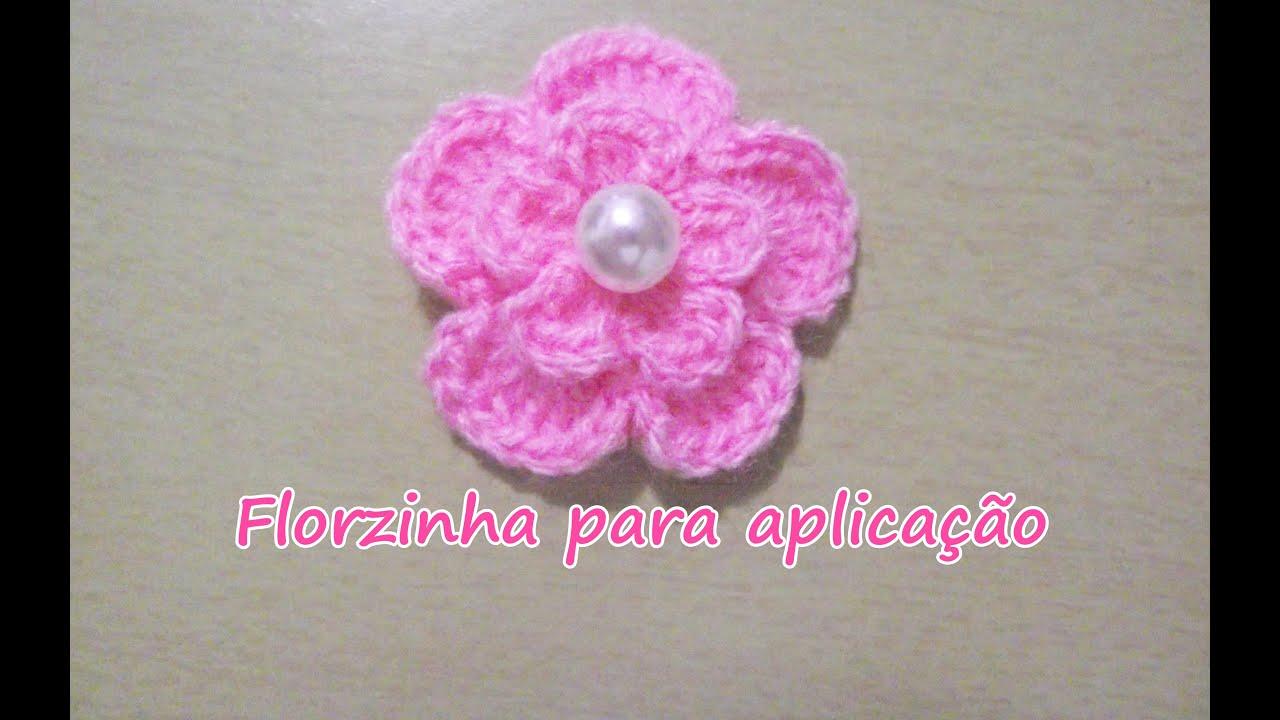 Florzinha de crochê fácil - Para aplicação  crochet - YouTube 1b2f74b6982