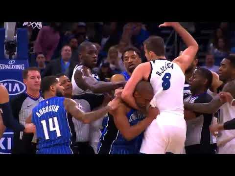 Arron Afflalo and Nemanja Bjelica Fight - Orlando Magic vs. Minnesota Timberwolves - 16/01/2018