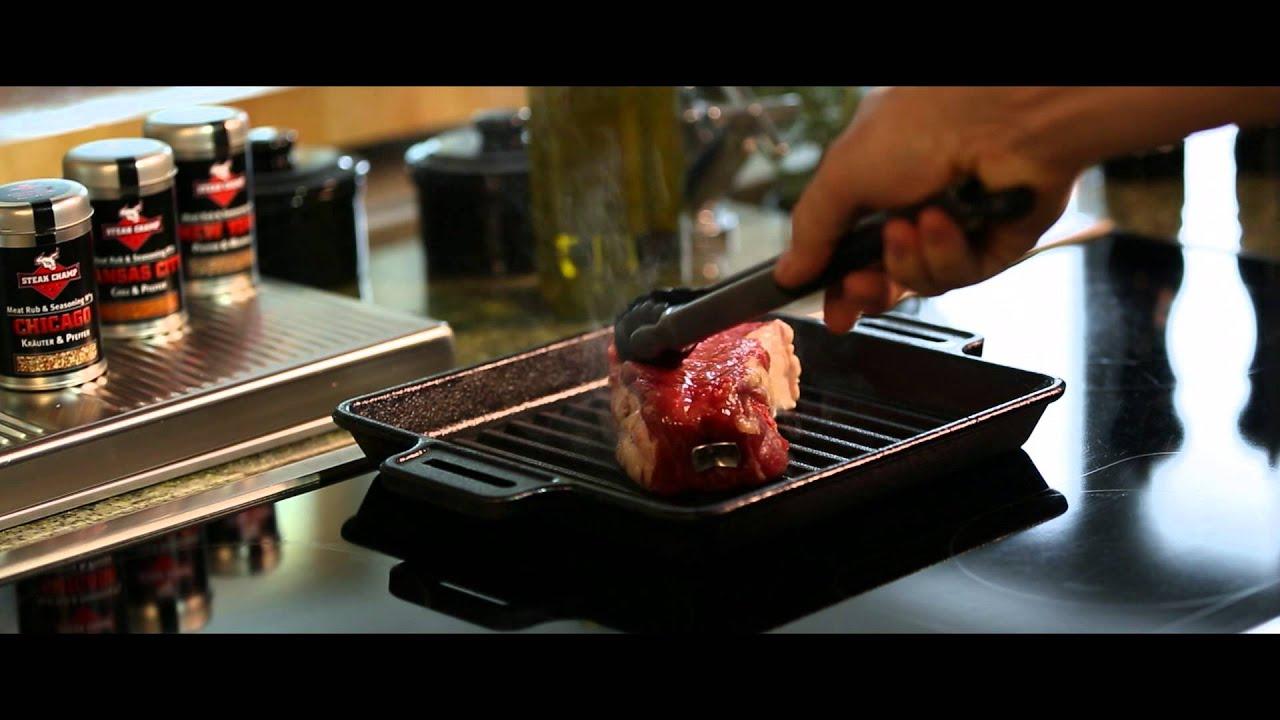 das perfekte steak in der pfanne braten mit steakchamp the intelligent steak thermometer youtube. Black Bedroom Furniture Sets. Home Design Ideas