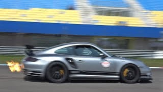 1200HP 9ff Porsche 997 Turbo Going Flatout on Track! Flames & Accelerations!