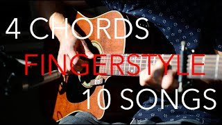 EASY Fingerstyle Medley // 4 Chords - 10 Songs (Am-F-C-G)
