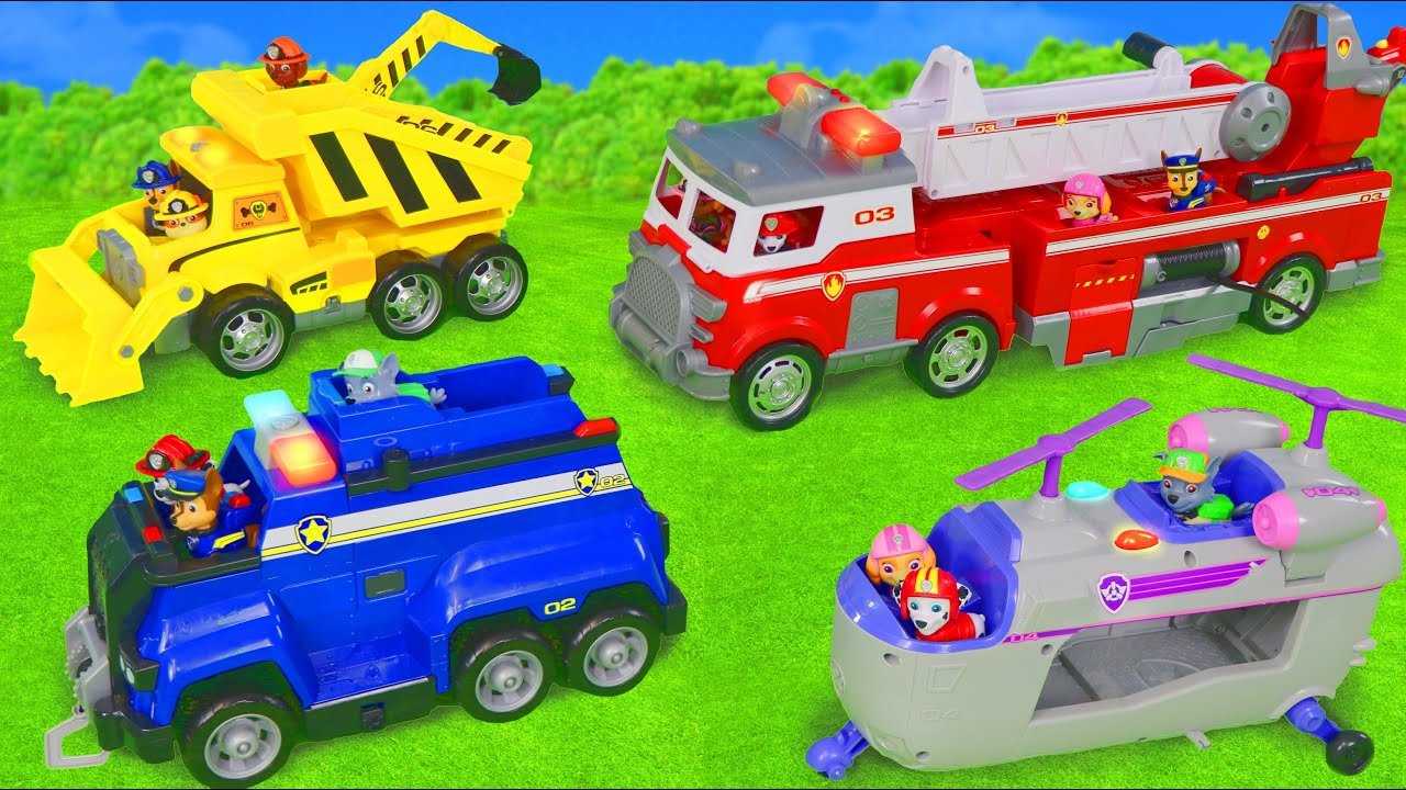 Paw Patrol Toy Vehicles: Excavator, Fire Truck, Police