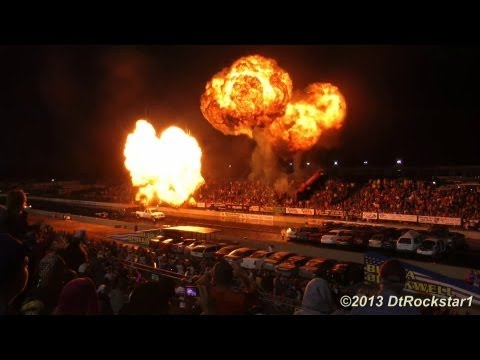 Night Under Fire: Explosions, Jet Cars, Funny Cars, Jet Semi, Cars Flying in Air