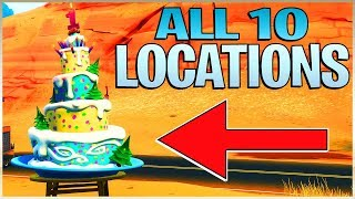 """""""Dance in front of different Birthday Cakes"""" All 10 Fortnite Challenge Locations"""