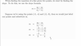 finding the equation of a line through 2 points