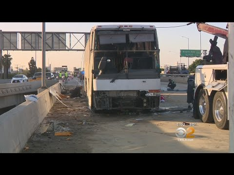 Several Hurt When Bus Overturns In Downtown LA