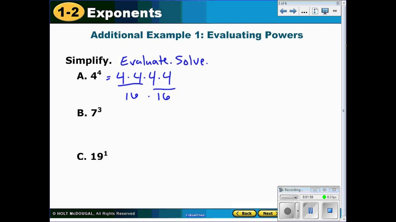 Solving Exponents And Writing In Expanded Form Youtube