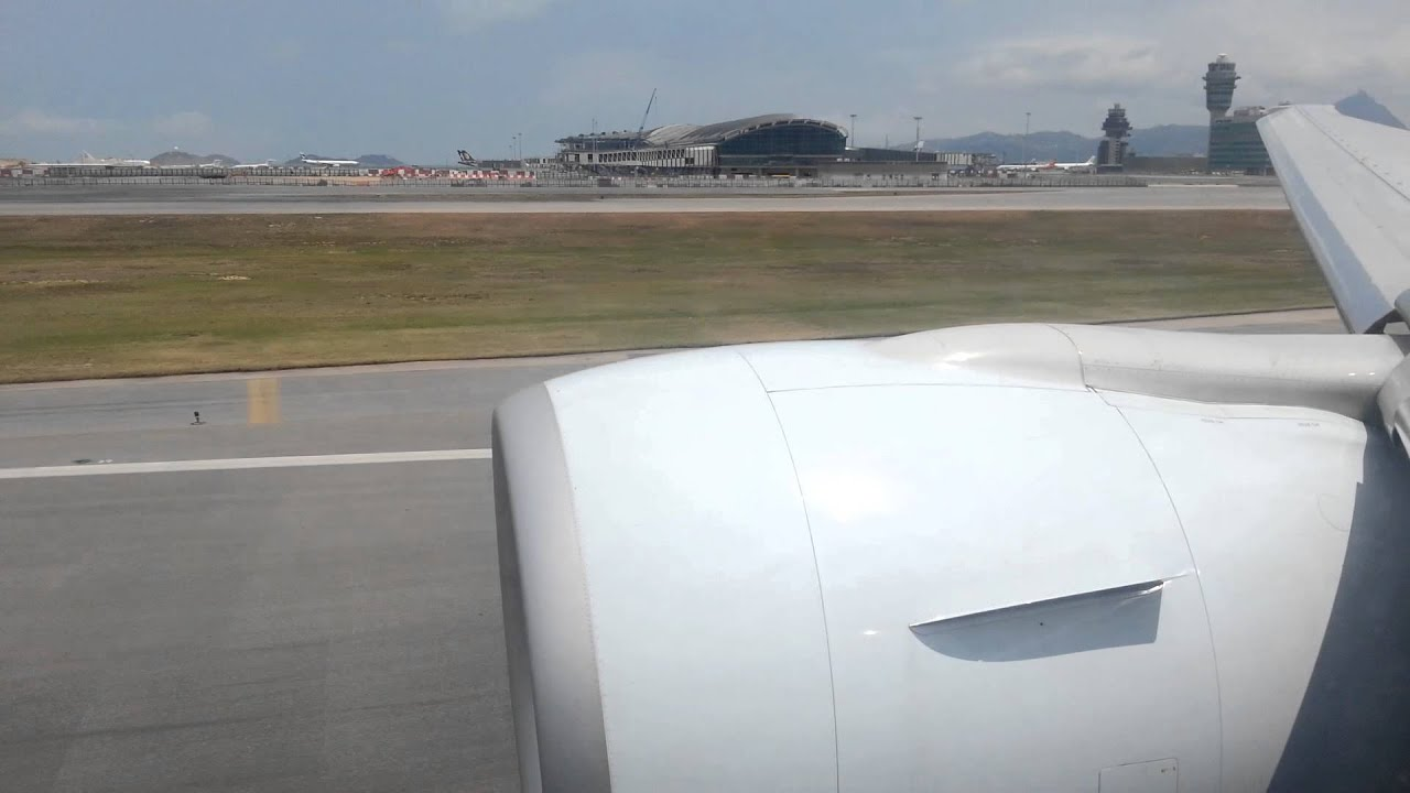 Cathay Pacific 777-300ER takeoff Hong Kong (great GE90 roar) CX828 to Toronto YYZ - YouTube
