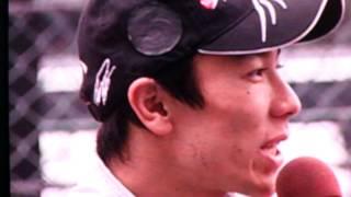フォーミュラーニッポンラウンド0のレース後の上位3名オリベイラ、佐藤...