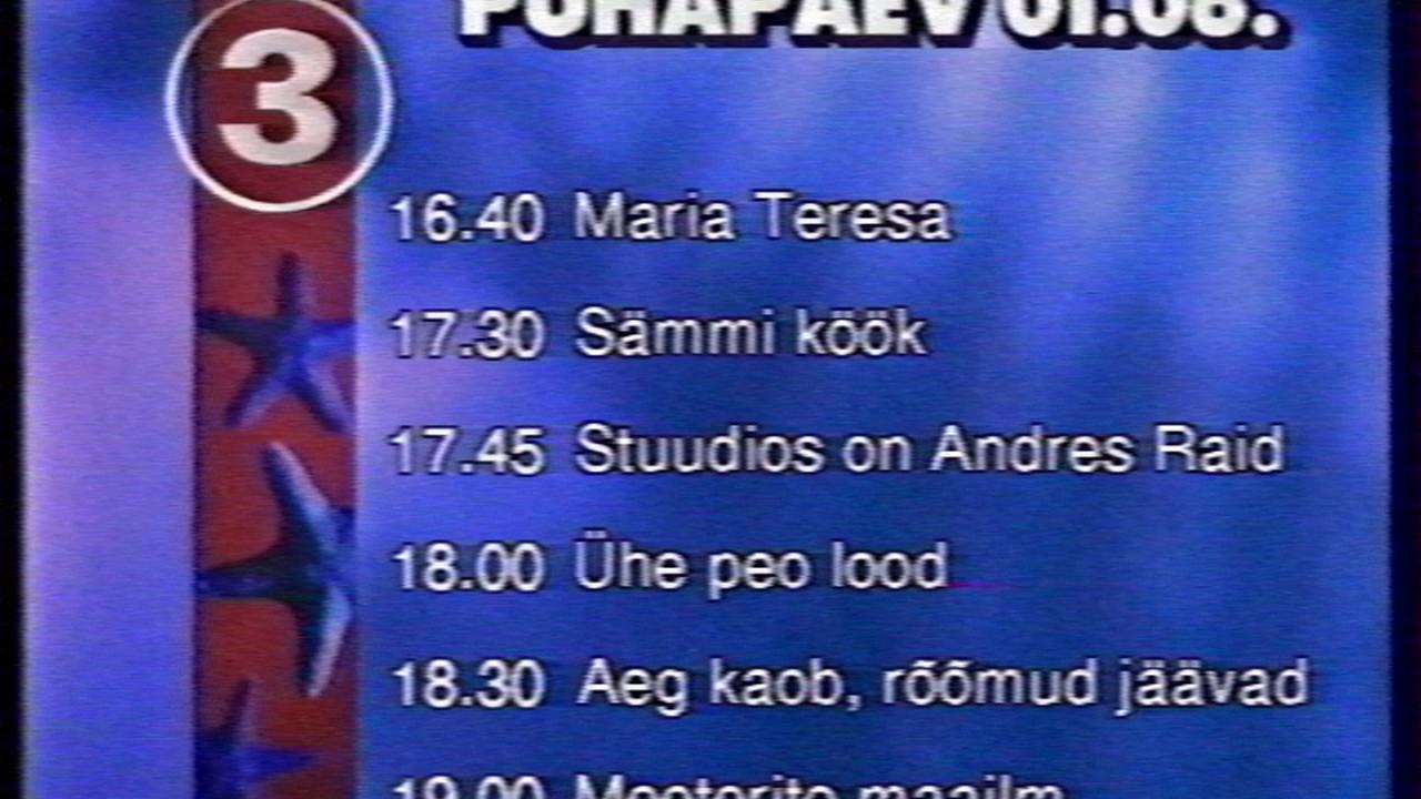tv3 saatekava pühapäev 1 6 1997 catchy tune youtube