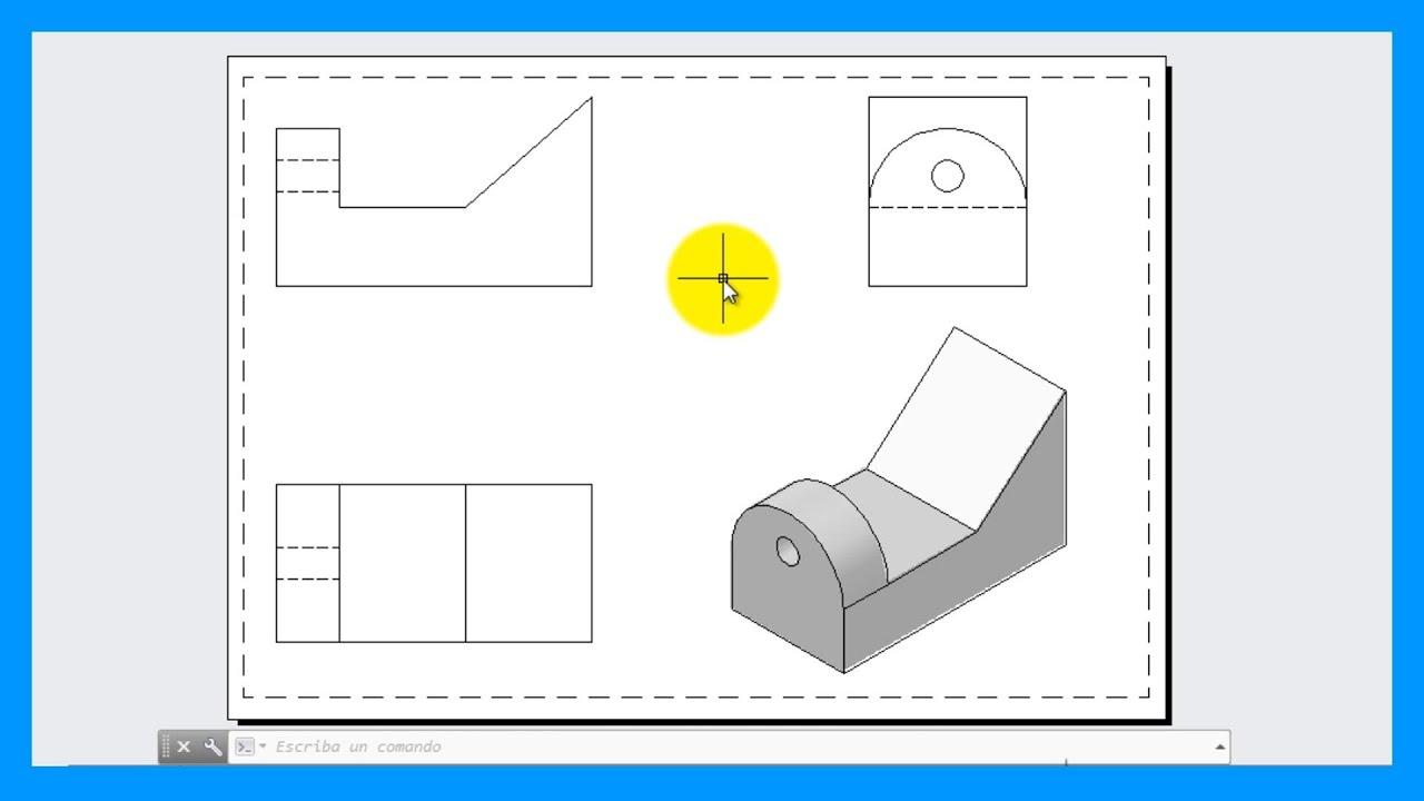 Autocad crear vistas a partir de una pieza o modelo 3d for Programa para dibujar en 3d gratis