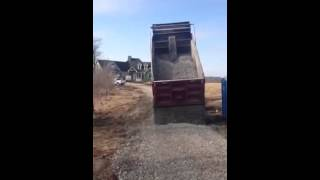 Mack truck Gravel spreading