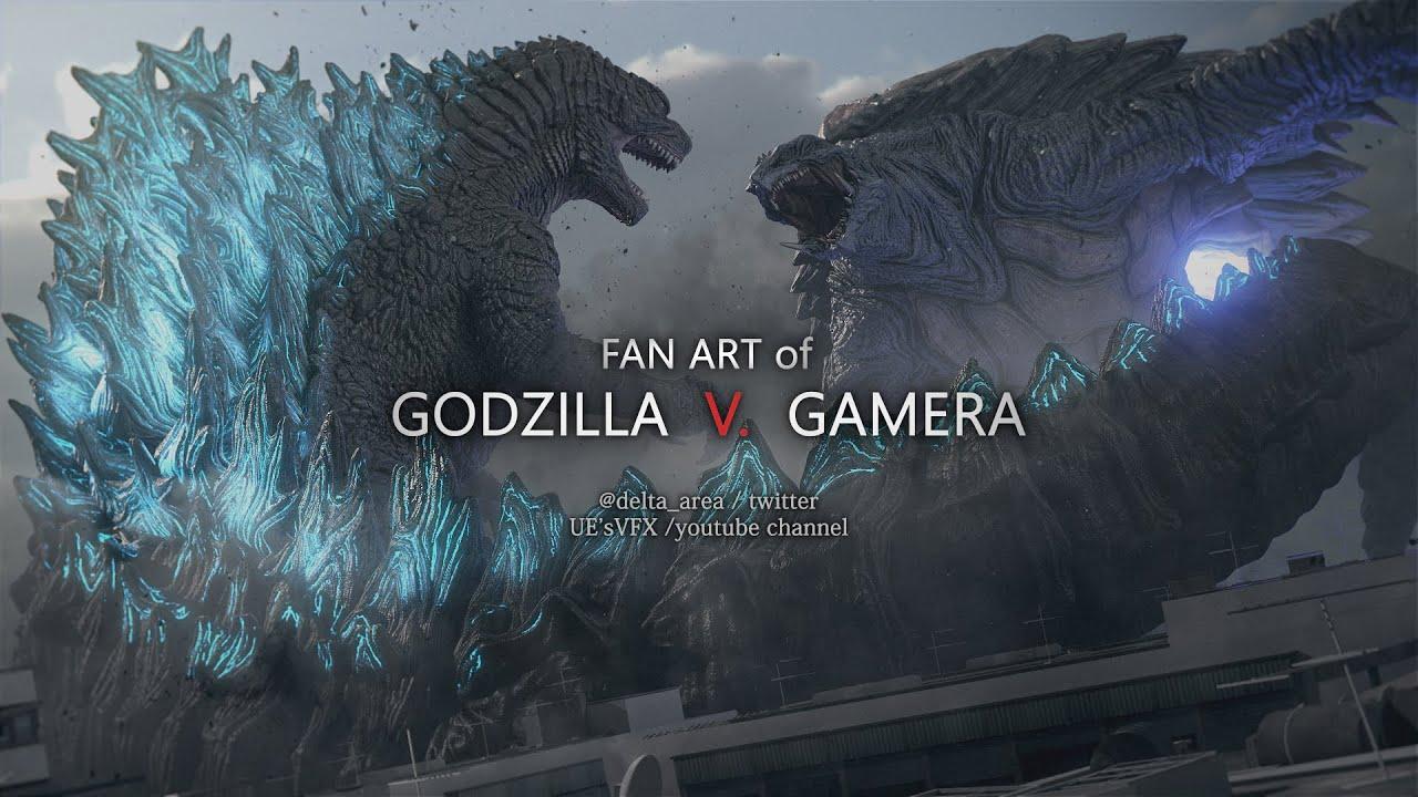 Download FAN ART of GODZILLA V. GAMERA   /  ファンアートゴジラV.ガメラ