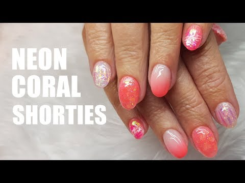 ACRYLIC NAIL INFILL AND REDESIGN SHORT NAILS | NEON GLITTER AND UNICORN FILM