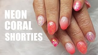 ACRYLIC NAIL INFILL AND REDESIGN SHORT NAILS   NEON GLITTER AND UNICORN FILM