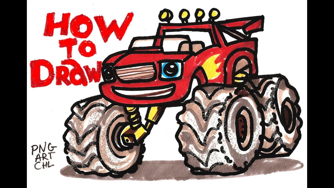 Uncategorized How To Draw Monster Trucks how to draw blaze from and the monster machines youtube