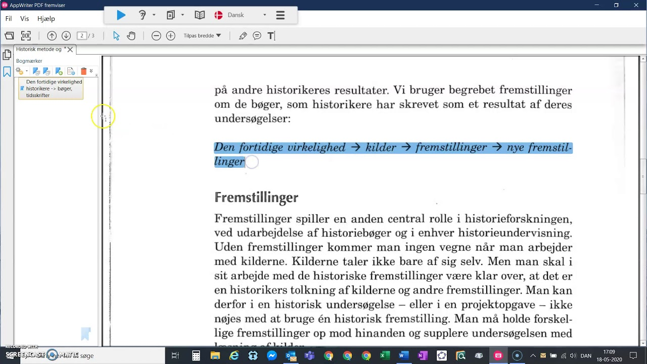 Noter bogmærker og overstregninger i AppWriter