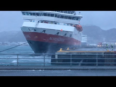 Ship Blown Against Dock During Storm